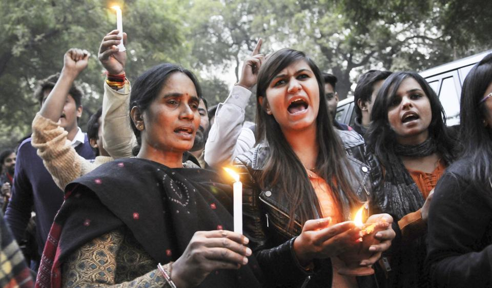 Nirbhaya's mother and protestors gather at Jantar Mantar to mark the anniversary of the assault on the 23-year-old physiotherapist in Delhi.