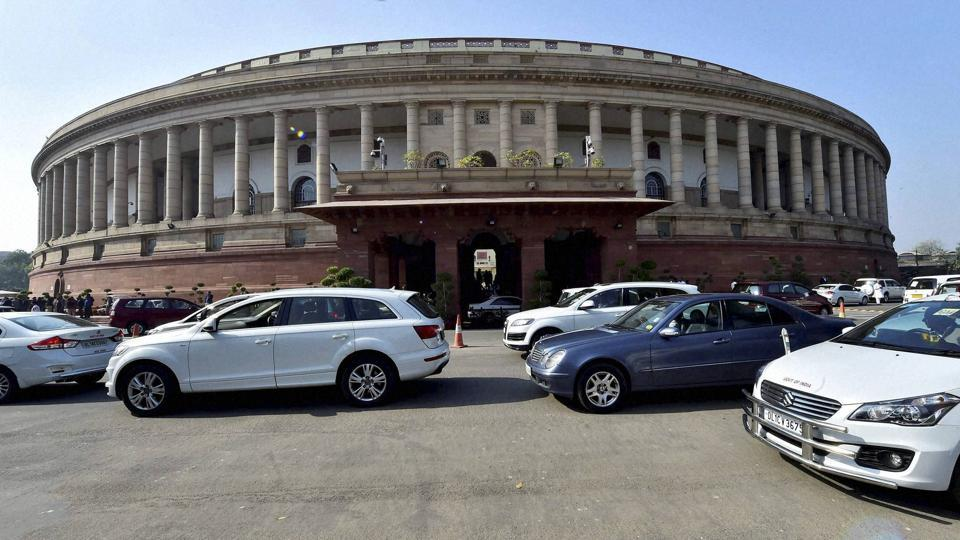 Cars of lawmakers at Parliament house in New Delhi on Thursday.