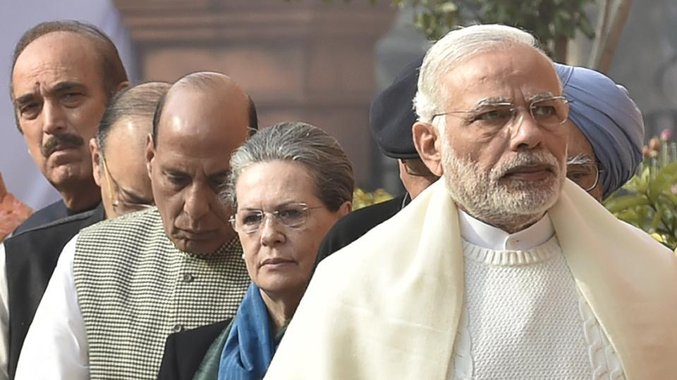 Congress President Sonia Gandhi and Prime Minister Narendra Modi with other leaders during an official function in Parliament House. The opposition and the government has repeatedly clashed over the demonetisation move in the winter session.