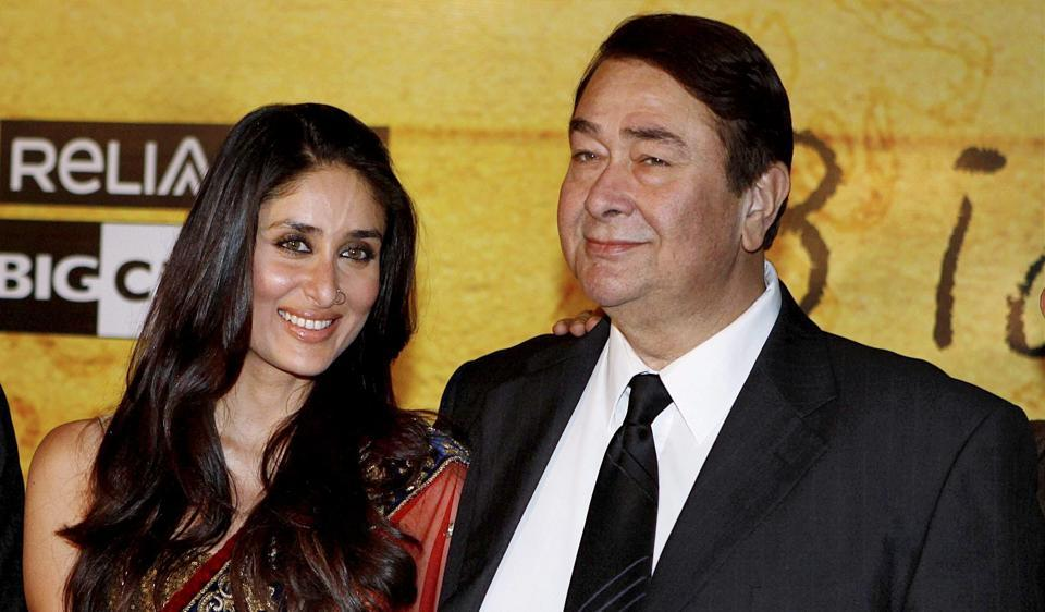 Actor Kareena Kapoor Khan with her father Randhir Kapoor. The actress is due to deliver on December 20.