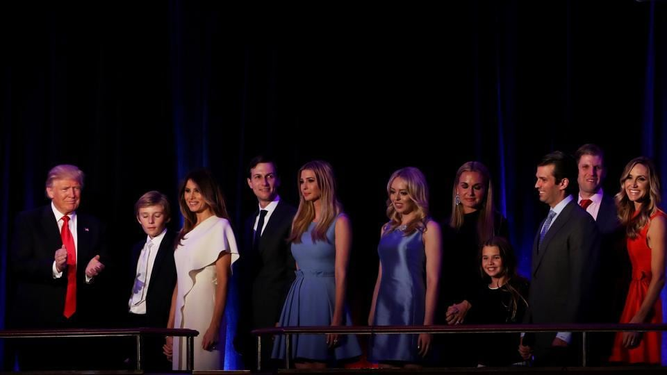 Donald Trump (left) with family members during a function in New York.