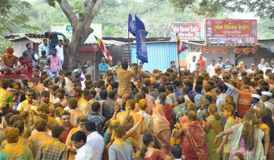 RPI workers celebrate their victory in Talegaon-Dabhade Nagar Parishad in Pune.
