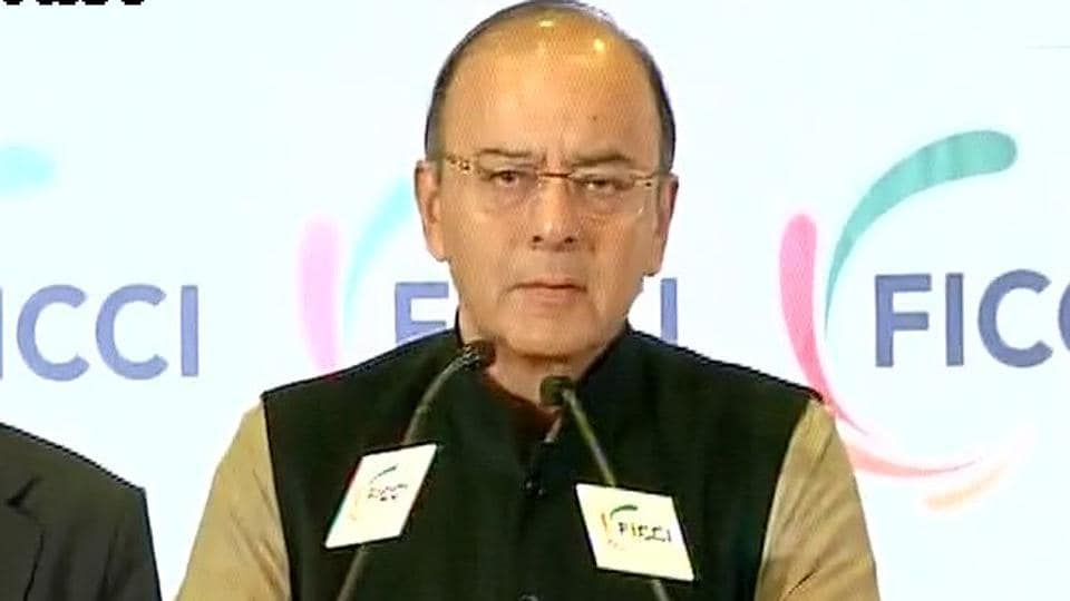 Finance minister Arun Jaitley addresses  FICCI's 89th Annual General Meeting.