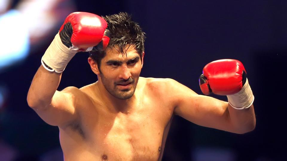 Vijender Singh beatTanzanian boxer Francis Cheka by a TKO in the third round to retain his WBO Asia Pacific Super-Middleweight championship belt at Thyagaraj Stadium on Saturday.