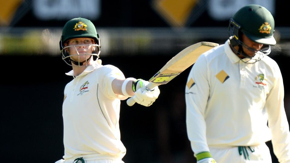 Steven Smith and Usman Khawaja slammed fifties as Australia's lead neared 500 against Pakistan in the Brisbane Test.