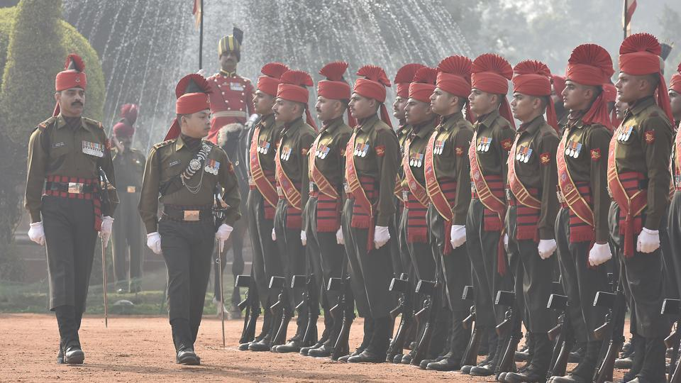 The New Guard, accompanied by the band then marches off to take up their duties. (Raj K Raj/HT PHOTO)