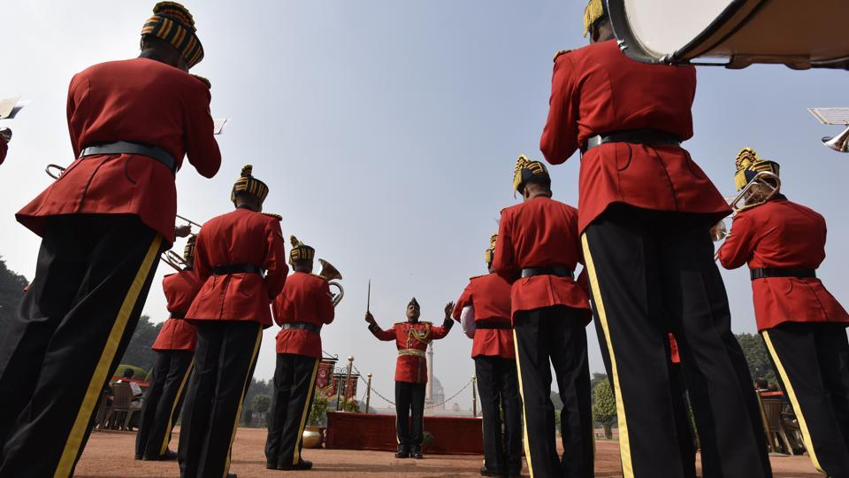 The Army Corps of Electronics and Mechanical Engineers Brass Band perform at the Change of Guard Ceremony. (Raj K Raj/HT )