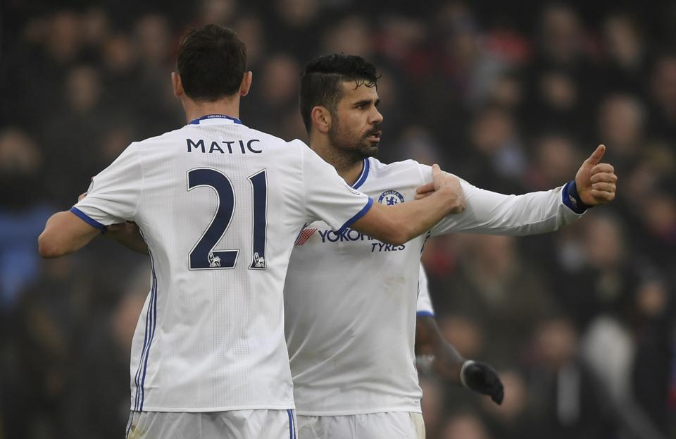 Chelsea's Diego Costa celebrates scoring their first goal with Nemanja Matic.