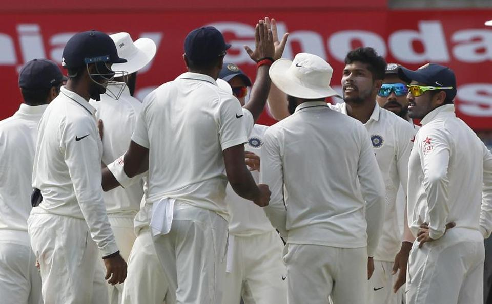 Umesh Yadav of India took the important wickets of Moeen Ali and AdilRashid during day two of the 5th Test between India and England at the MA Chidambaram Stadium, Chennai.