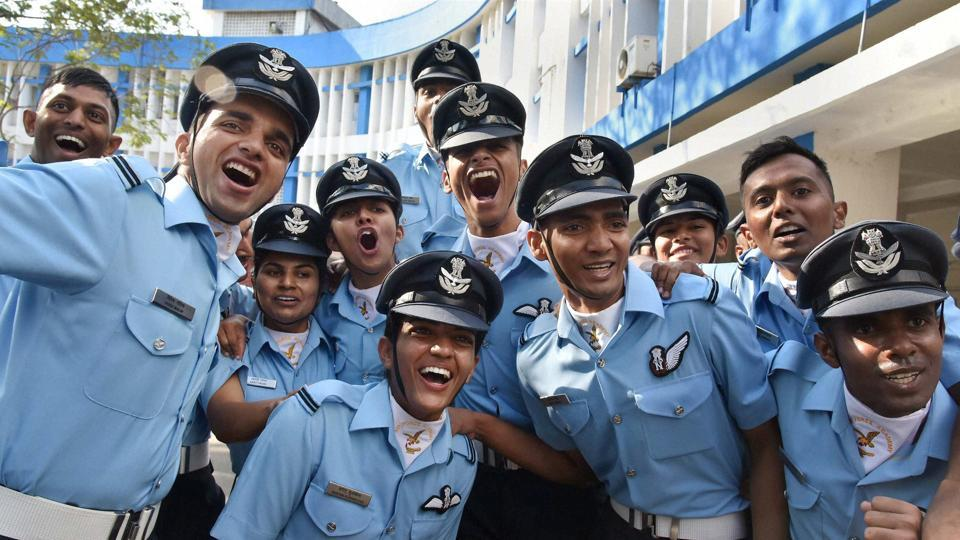 Cadets celebrate after the 110 flight Cadets Combined Graduation passing out Parade at Air Force Academy Dundigal, Hyderabad on Saturday.