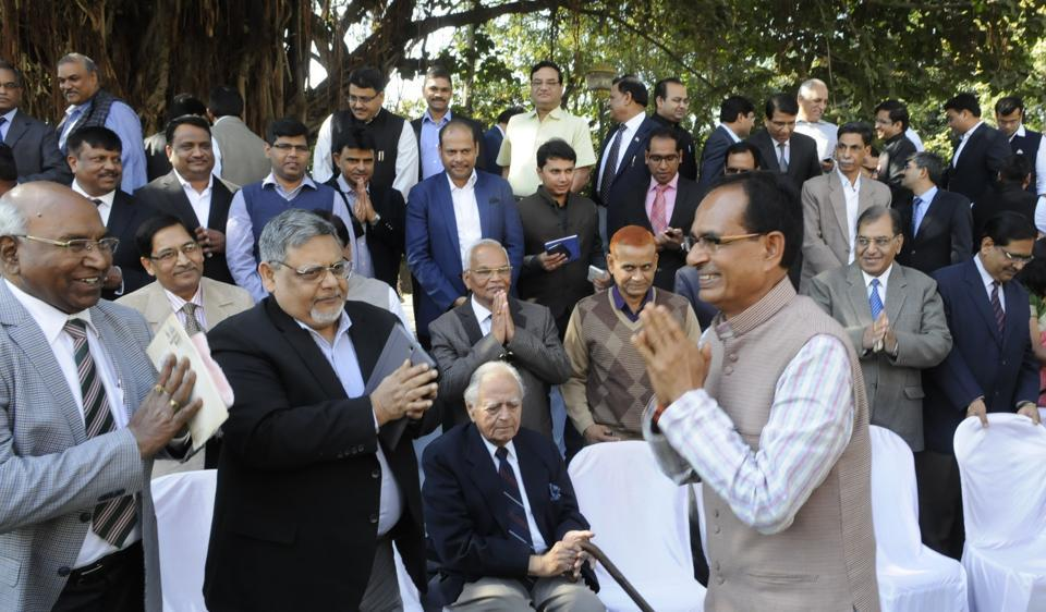 Chief minister Shivraj Singh Chouhan meets IAS officers at the Academy of Administration in Bhopal on Friday.