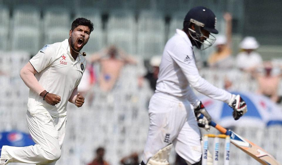 India's Umesh Yadav celebrates the dismissal of England's Adil Rashid, during second day of the fifth cricket test match.