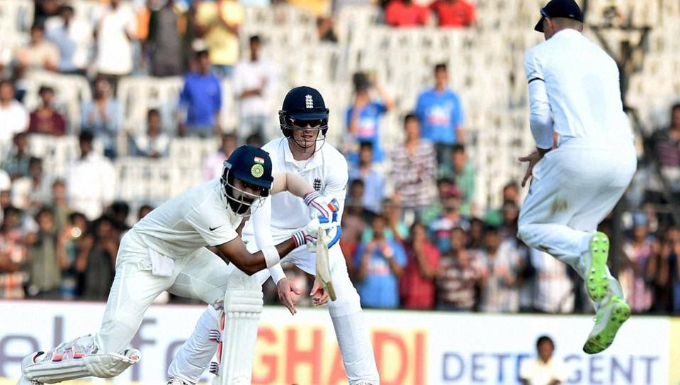 India's Lokesh Rahul plays a shot during the second day of the fifth test match against England  in Chennai on Saturday.