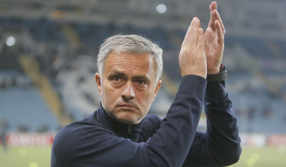 Manchester United's coach Jose Mourinho waves to fans prior the Europa League match against Zorya Luhansk.