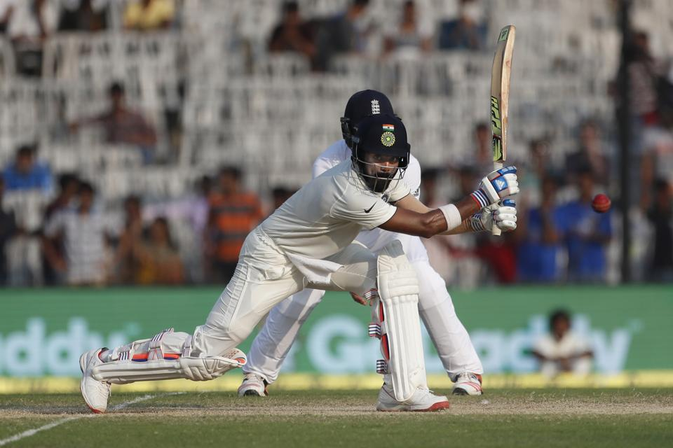 India's Lokesh Rahul plays a shot during their second day of the fifth cricket test match against England in Chennai.