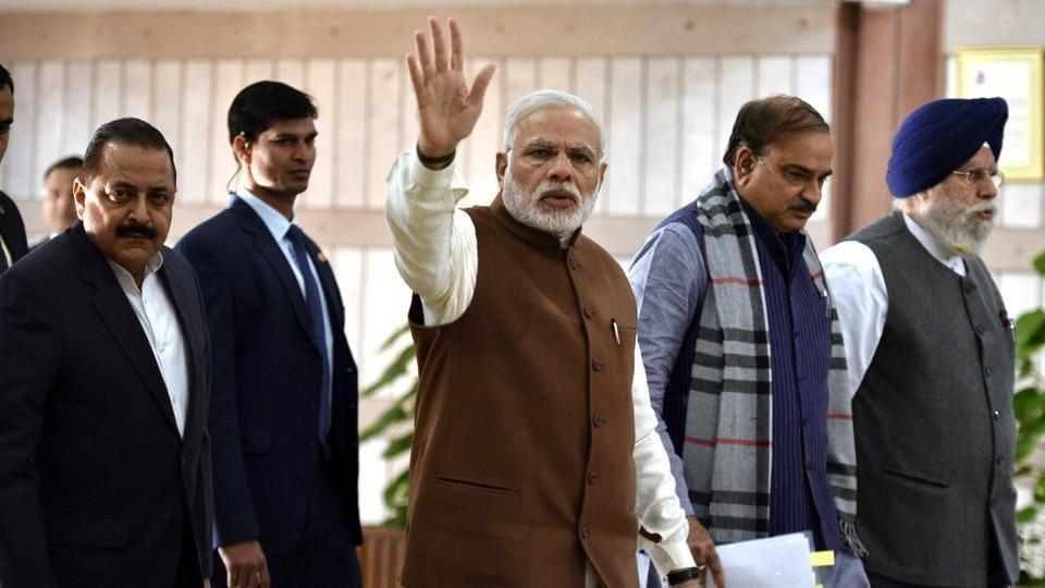 Prime Minister Narendra Modi at Parliament House in New Delhi on Friday.