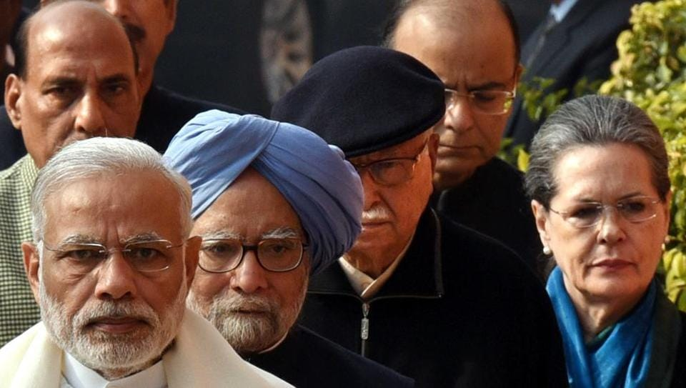 Prime Minister Narender Modi, Former Prime Minister Manmohan Singh, Senior BJP Leader Lal Krishan Advani, UPA Chairperson Sonia Gandhi and Union home mInister Rajnath Singh, finance minister Arun Jaitley and Congress leader Ghulam Nabi Azad arrive for the flower tribute to martyrs in the 2001 Parliament terrorist attack, at Parliament House in New Delhi on December 13 .  (Arun Sharma/HTs)