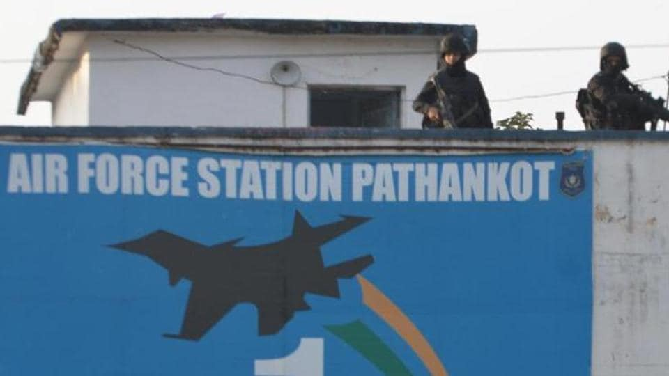 Commandos stand guard at Indian Air Force station in Pathankot.  NIA has accessed the Facebook account of the attackers' handler, which reveals his involvement in other attacks.