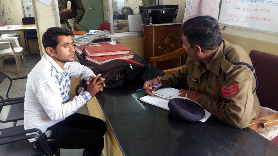 The accused at Sanyogitaganj police station on Friday.