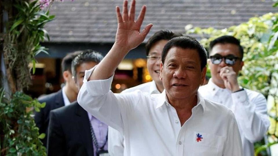 Philippines President Rodrigo Duterte arrives for an orchid naming ceremony at Singapore Botanic Gardens, Singapore.
