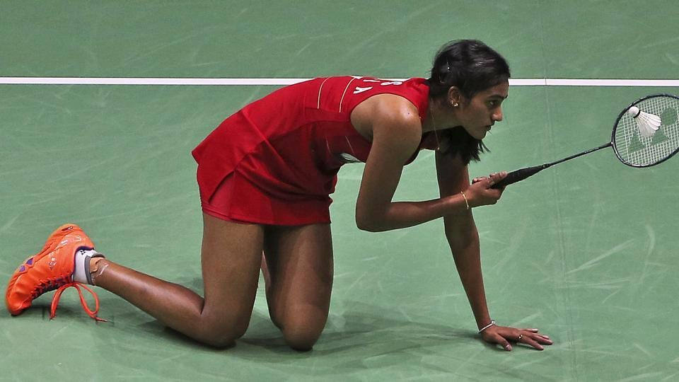 PV Sindhu reacts during her match against South Korea's Sung Ji-hyun during the World Superseries Finals Badminton tournament in Dubai on Saturday.