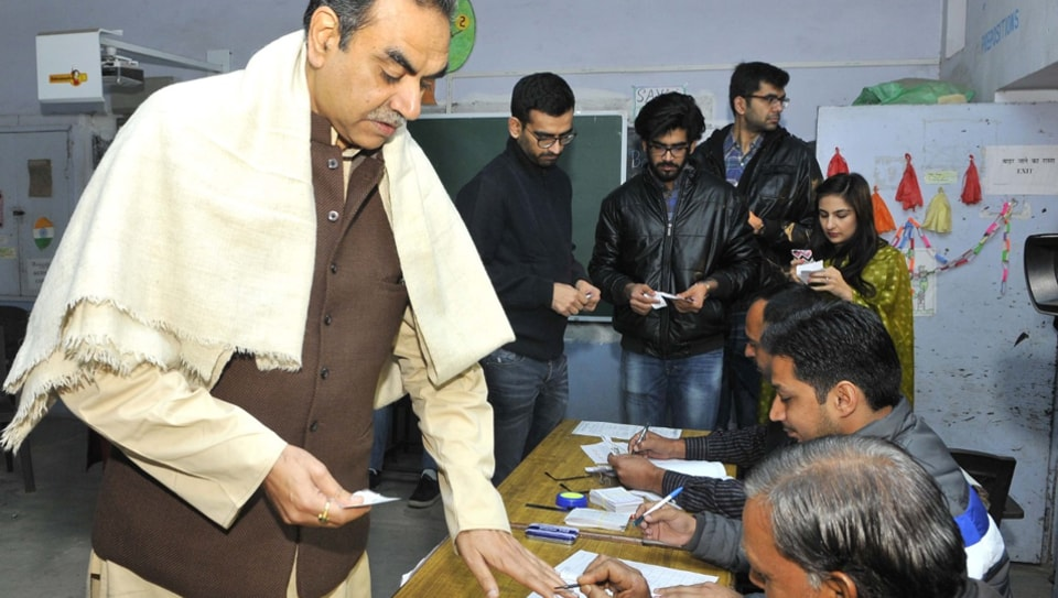 Sanjay Tandon in polling booth at Sector 18 in Chandigarh on Sunday.