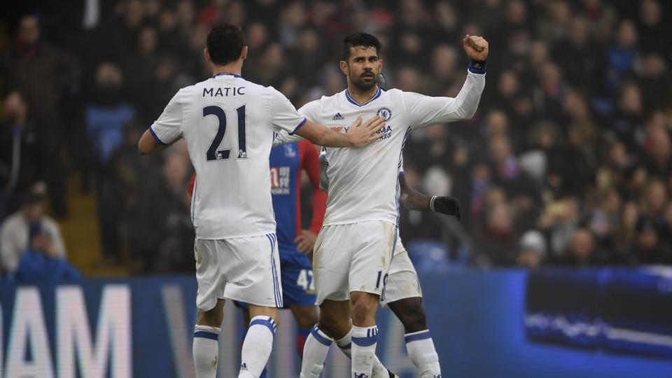 Chelsea's Diego Costa celebrates after scoring Crystal Palace.