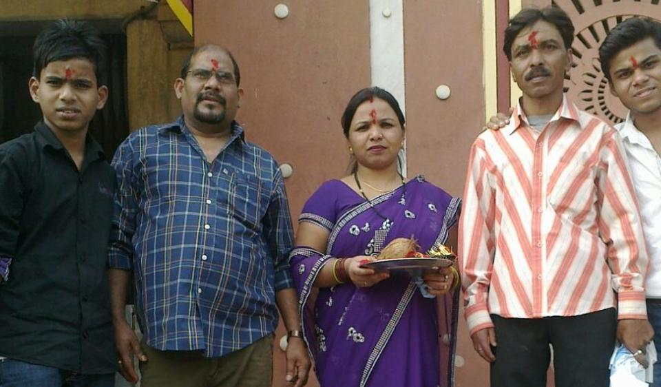 Gopal Ram (second from left) with his family. Gopal died in Tokyo on December 10. HT had reported that Gopal's family could not afford to fly his body back to Delhi.