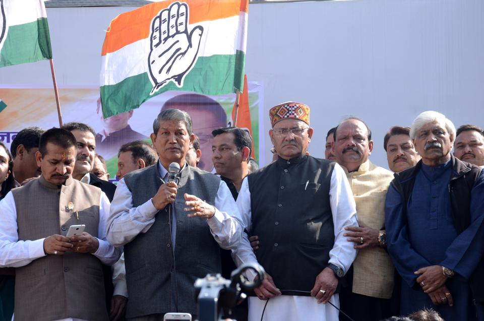 Chief minister Harish Rawat addresses a Congress rally organised against demonetisation in Dehradun.
