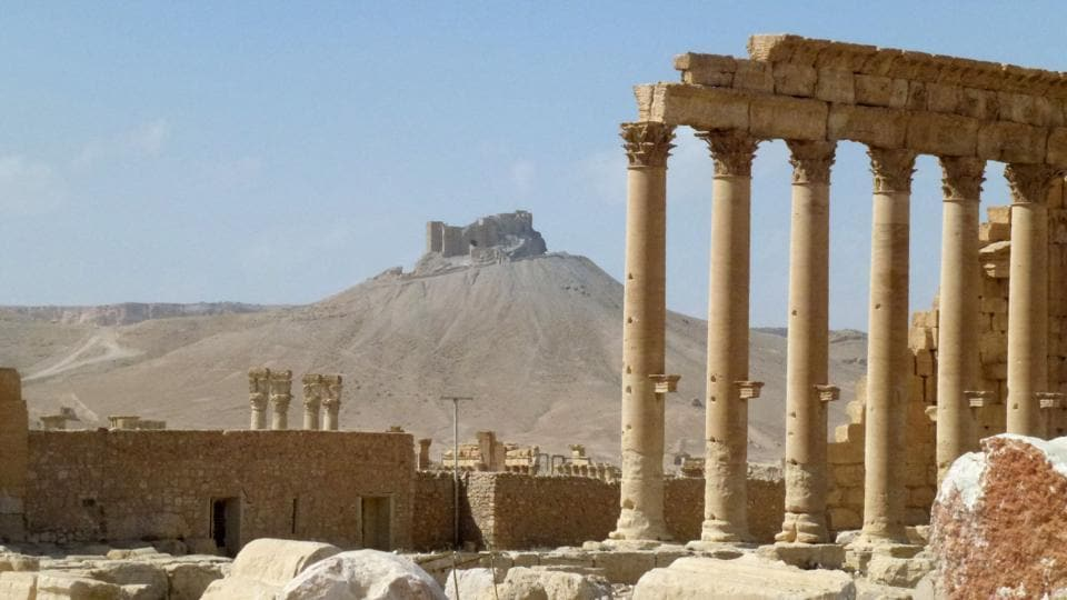 This file photo taken on March 27, 2016 shows part of the ancient Syrian city of Palmyra. The jihadists retook Palmyra  on December 11, just eight months after the army backed by Russia drove them out.