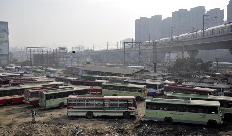 Buses at Kaushambi bus depot.