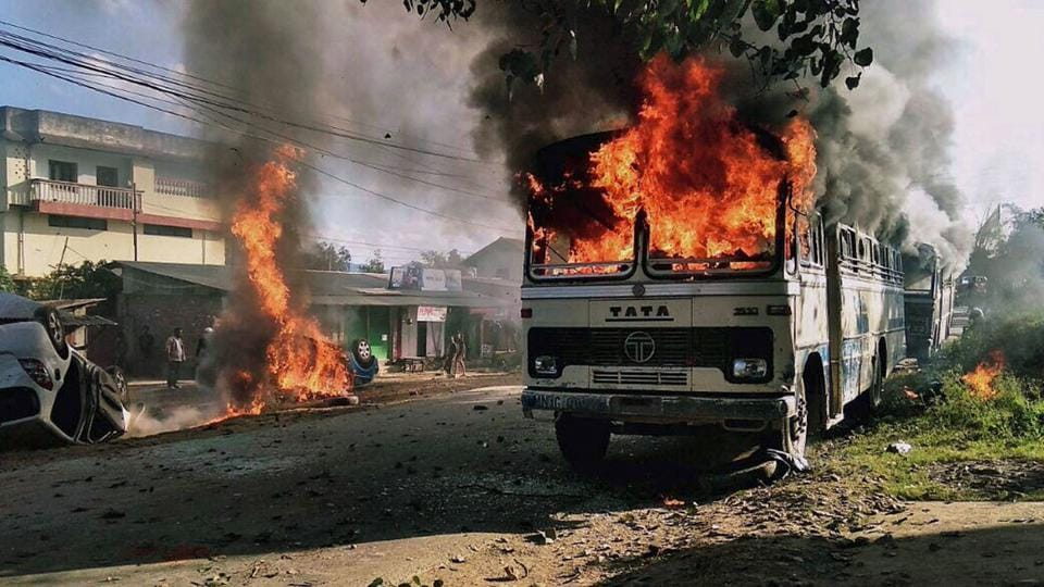 In the attack on vehicles in Imphal East, the arsonists did not target the vehicle drivers and passengers. But as fire tenders could not reach the spot, the vehicles could not be salvaged.