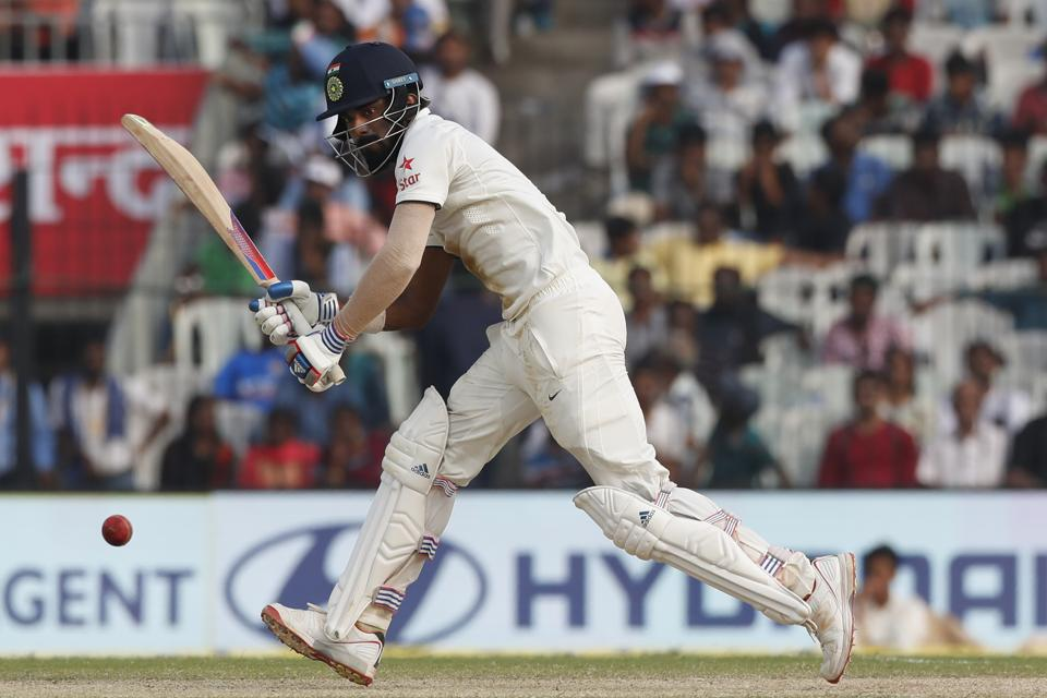India's Lokesh Rahul, plays a shot during their third day of the fifth cricket test match against England in Chennai.
