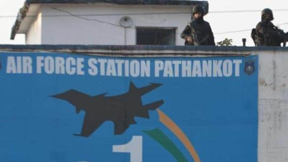 Commandos stand guard at the Pathankot airbase during search operations after a militant attack.