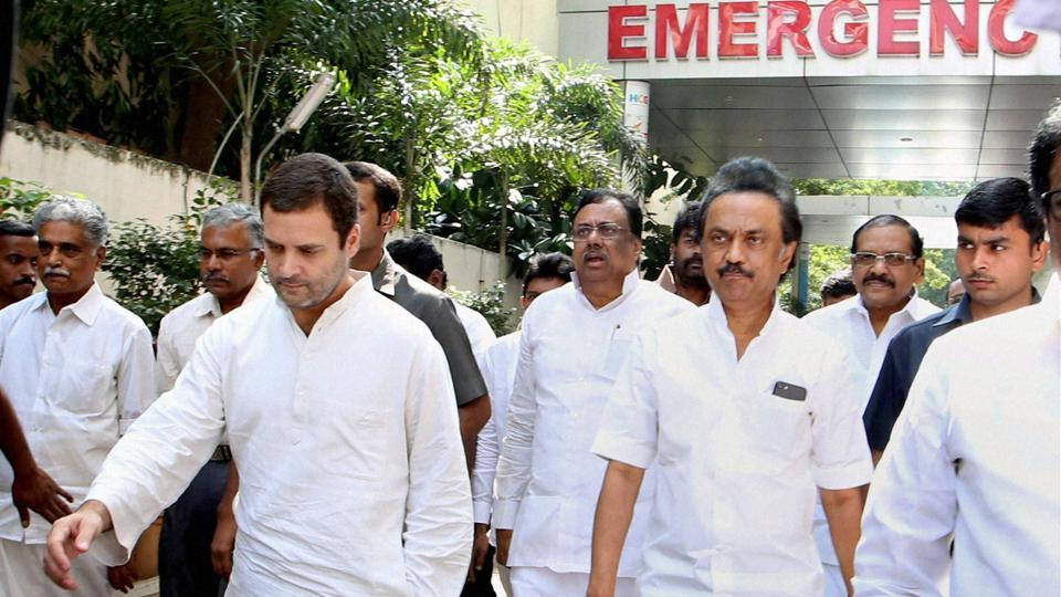 Congress vice-president Rahul Gandhi and DMK treasurer MK Stalin leave Kauvery hospital after visiting DMK party chief Karunanidhi, who recently underwent tracheostomy, in Chenna on Saturday.