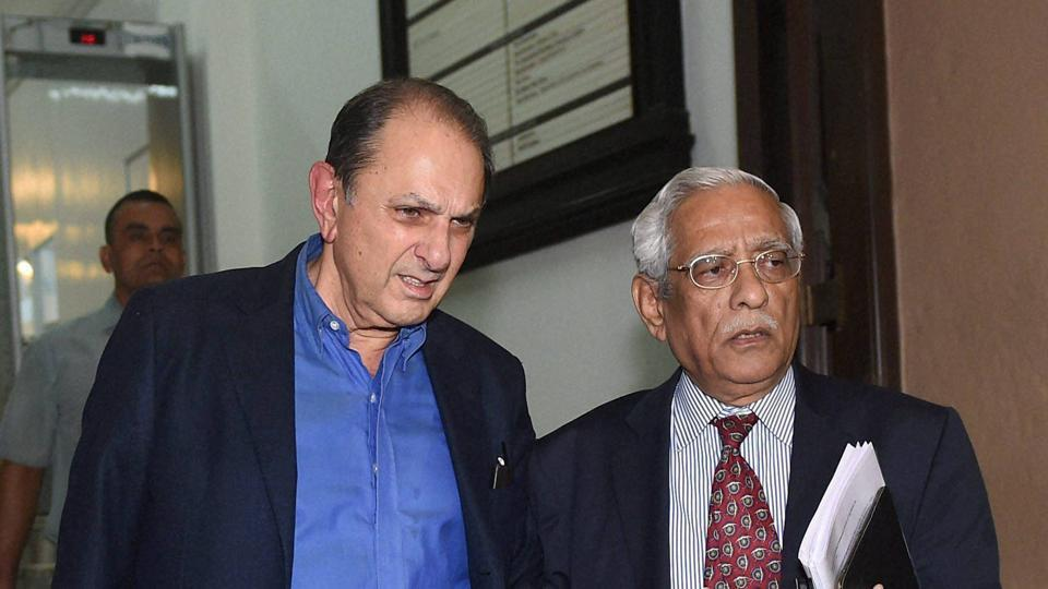 Tata Steel Independent Director, Nusli Wadia, and Subodh Bhargava, Director of Tata Motors leave Bombay House after Tata Motors' board meeting in Mumbai on Monday.