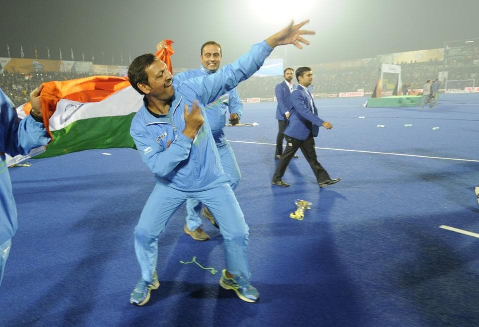 Harendra Singh celebrates after India's win over Belgium in the final of 2016 Hockey Junior World Cup.