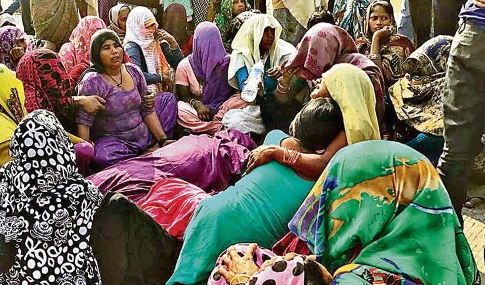 Locals staged a protest with the body of the victim at the site of the accident. The family of the deceased demanded compensation and arrest of the car driver.