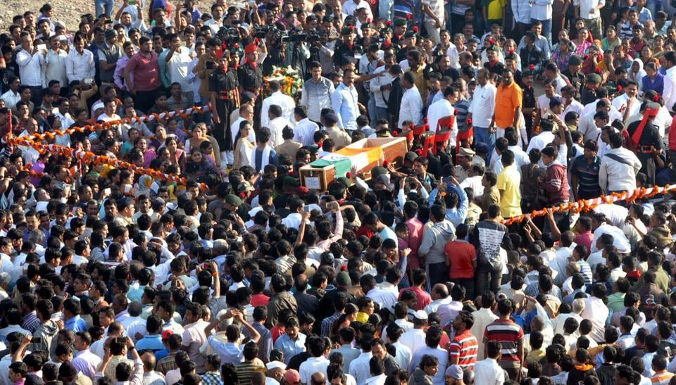 32-year-old gunner Saurabh Farate was cremated with full military honour in Phursungi village in Pune district on Monday.
