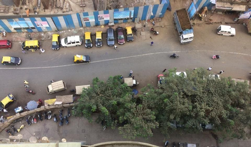 A view from the spot in the New Hind Mill MHADA colony in Byculla from where the girl fell.