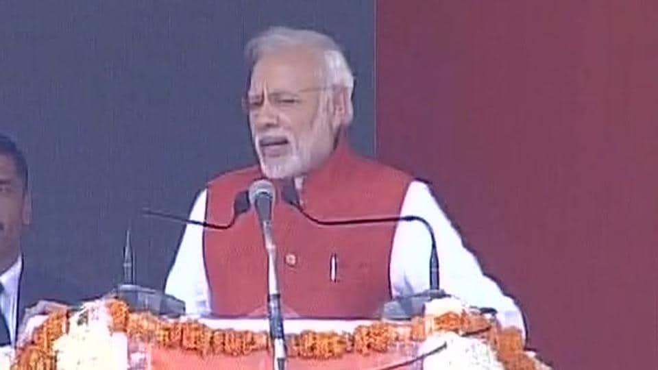 Prime Minister Narendra Modi at a rally in Kanpur.
