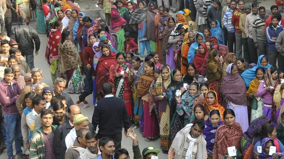 Residents waiting in queues during the polling for the municipal corporation elections at the CTU workshop in Industrial Area, Phase 1, Chandigarh, on Sunday.