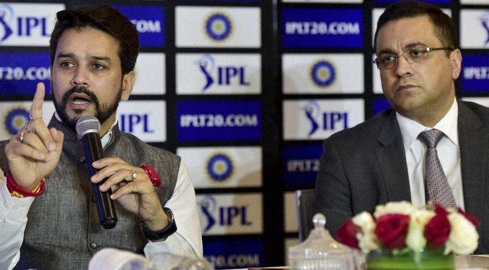 Chief executive Rahul Johri (R) with BCCI President Anurag Thakur at a news conference.