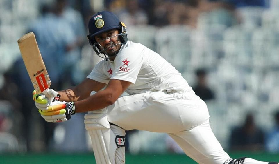 Karun Nair plays a shot against England on Day 4 of the fifth Test match against England.