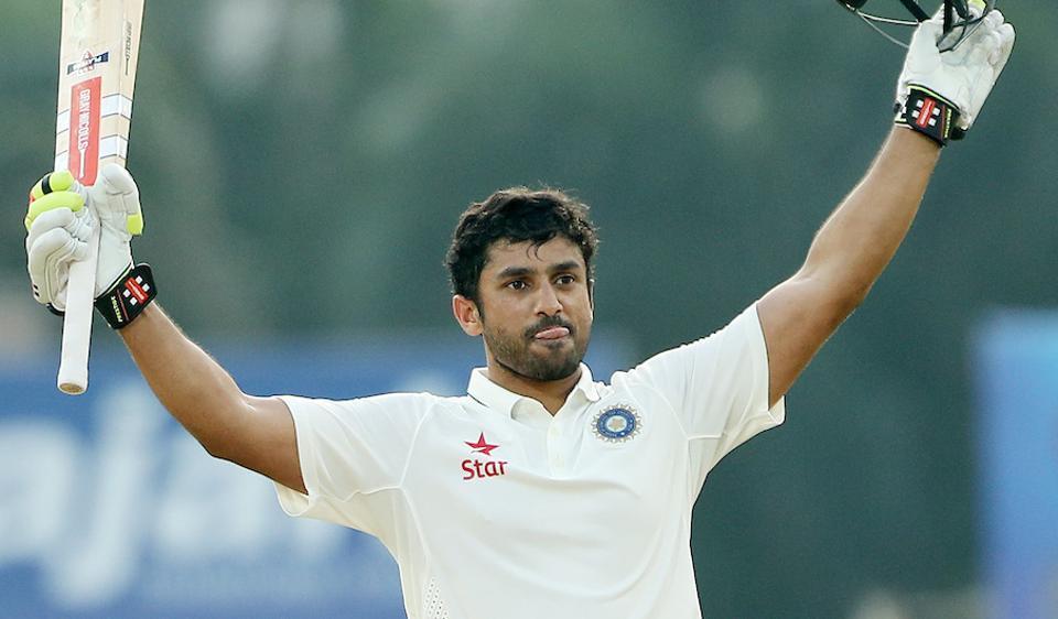 Karun Nair celebrates after reaching his triple century against England  at the M. A. Chidambaram Stadium in Chennai.