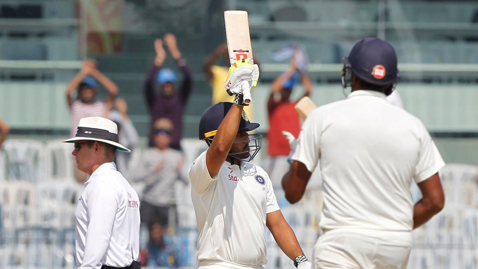 Karun Nair of India notched up his 150 as he aimed to capitalise on a great start. (BCCI)