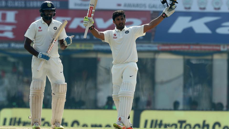 Karun Nair celebrates his double century on day 4 of the 5th Test match between India and England at the M. A. Chidambaram Stadium in Chennai on Monday as Ravichandran Ashwin applauds