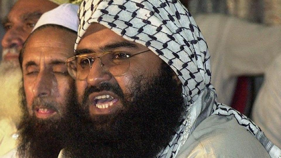 In this file picture, Jaish-e-Mohammad chief Masood Azhar, a militant released from an Indian jail in 1999 in exchange for Indian airliner hostages, addresses a meeting of Pakistan's religious and political parties in Islamabad against the UN monitors.