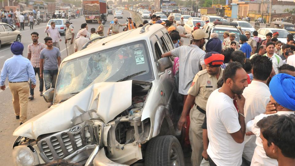 An accident on the national highway in Jalandhar.
