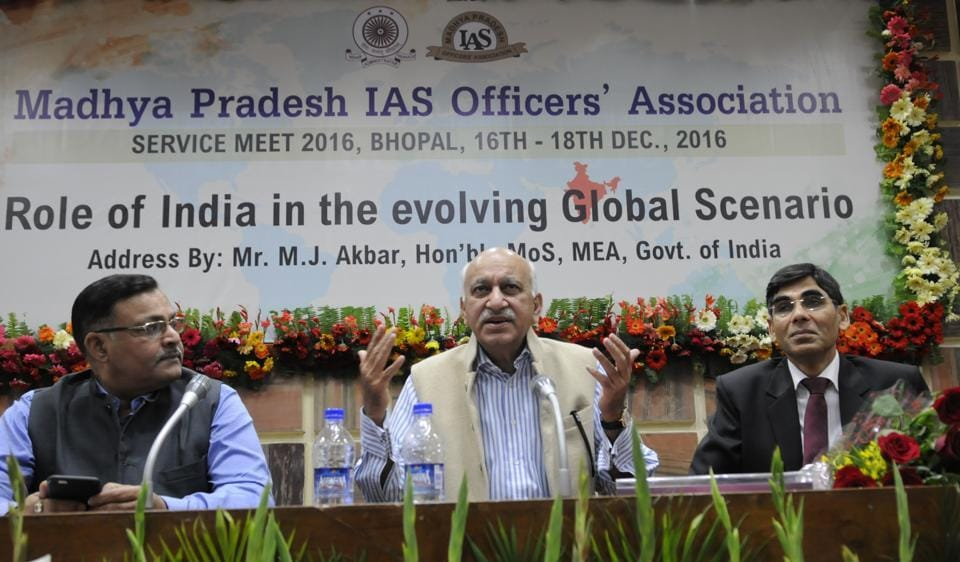 Minister of state for external affairs MJ Akbar delivering lecture organised as part of the IAS officers' service meet in Bhopal on Sunday.